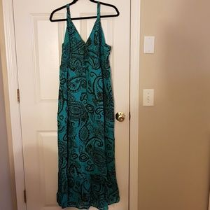 Black & Turquoise Maxi Dress